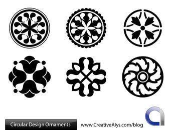 Pacote de enfeites circulares em preto e branco