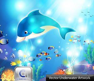 Escena submarina acuática estilo cómico