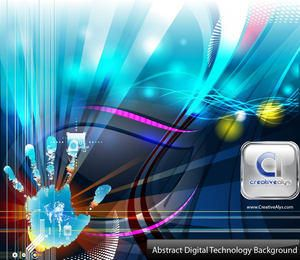 Hand Print Touch Technology Abstract Background