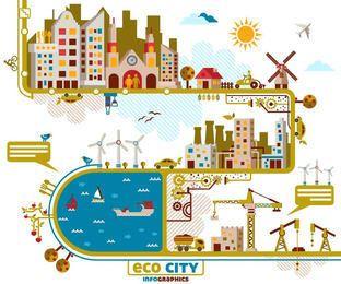 Conjunto de info-gráfico de cidade de estilo funky