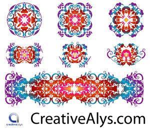 Conjunto de patrones florísticos creativos