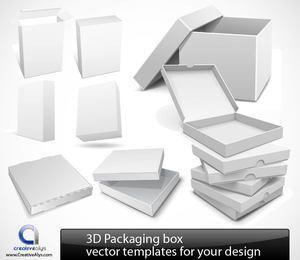 Conjunto de embalagens 3D detalhadas brilhantes