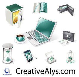 Creativo negocio realista y conjunto de iconos Web