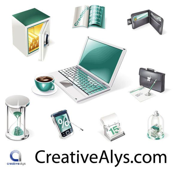 Creative Realistic Business and Web Icon Set