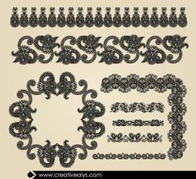 Ornamentos de borda Vintage mão desenhada