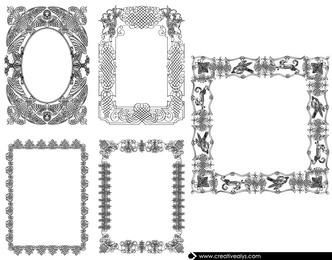 Conjunto de fronteira de caligrafia decorativa vintage