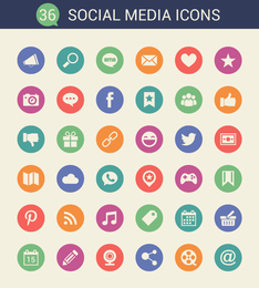Social Media Flat Circle Icons