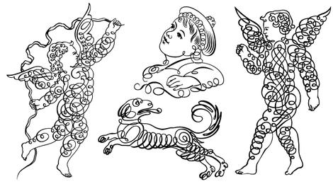 Conjunto de caracteres de adorno caligráfico