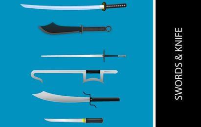 Facas e espadas vetores