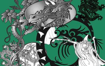 Vectores de mago y dragón