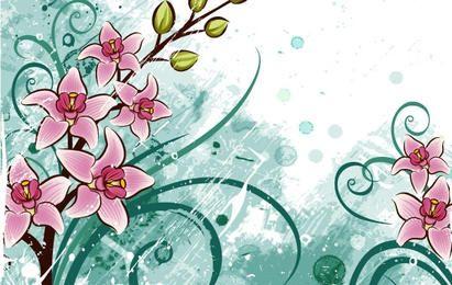 flores de lírio com fundo floral grunge
