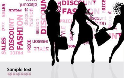 Compras de moda silueta ilustración vectorial