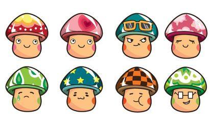 Cartoon Mushrooms Vector Set