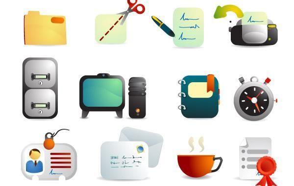 Linda oficina suministros iconos vectoriales