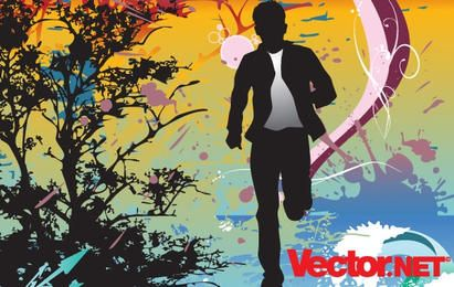 Running Action Man Silhouette Vector Illustration