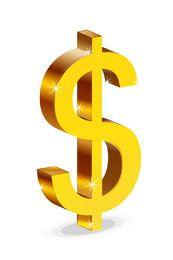 Signo de dólar brillante 3D