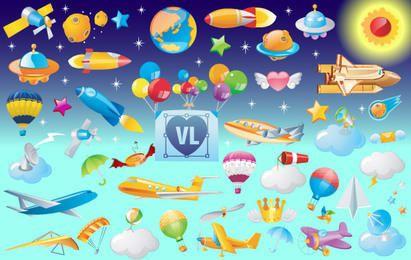 Iconos vectoriales de objetos voladores