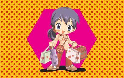 Anime-Einkaufenmädchen-Vektor