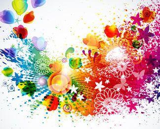 Fondo floral salpicado colorido abstracto