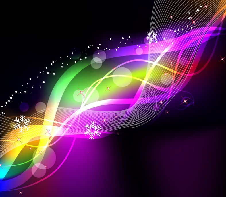 Rainbow Neon Glow Waves & Lines Background