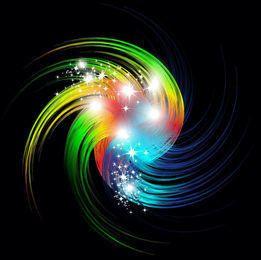 Vórtices coloridos remolinos con estrellas brillantes