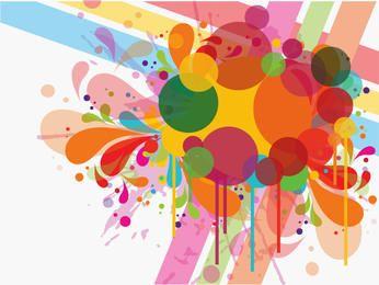 Respingos coloridos redemoinhos e círculos