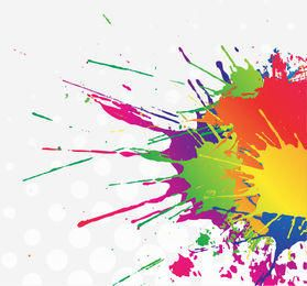Colorful Splatter Stain Paint with Halftone