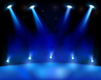 Realistic Blue Stage Light Background