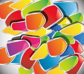 Pilhas de formas desordenadas abstratas lustrosas coloridas