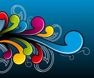 Abstract Colorful Flat Simplistic Swirls