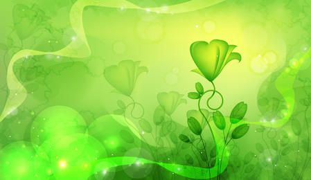 Fluorescent Green Abstract Floral Design