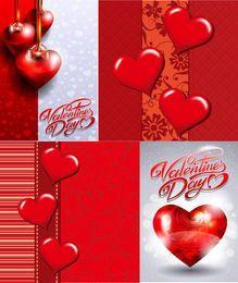 Conjunto de tarjetas abstractas corazones brillantes de San Valentín