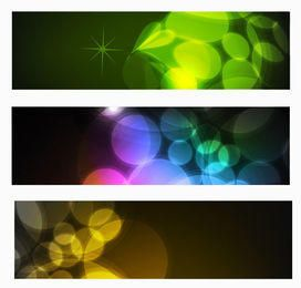 3 Multicolor Banners with Glowing Bokeh Lights