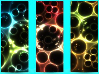 Glowing Abstract 3 Vertical Banners with Bubbles