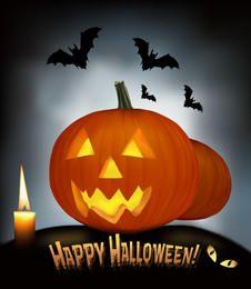 Fondo de la noche de Halloween espeluznante de calabaza y murciélagos