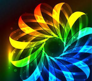 Fluorescent Colorful Floral Stripy Background