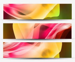 Curvas de ondulação coloridas 3 fundos de cabeçalho