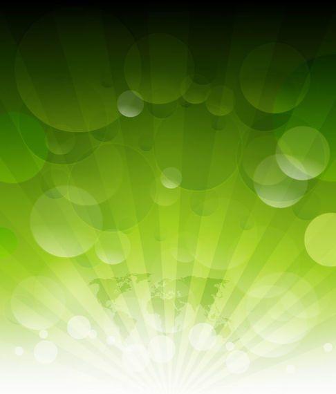 Rayos de sol brillantes en verde con burbujas y mapa