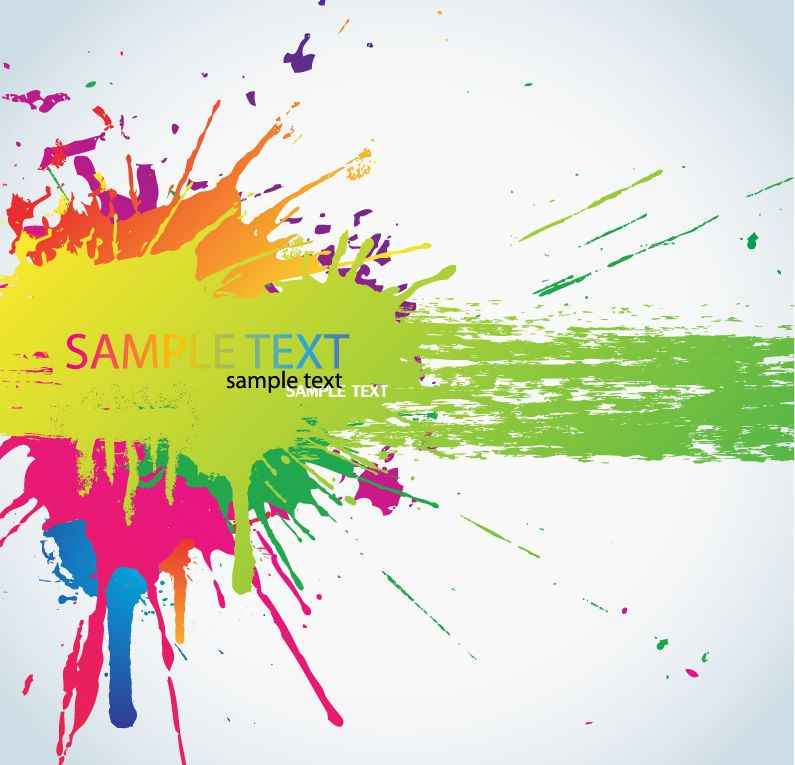colorful painted splashed banner template vector download
