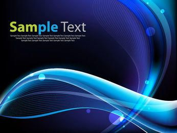 Glossy Blue Waves & Spiral Lines Background
