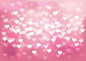 Glowing Bokeh Hearts Wedding Background