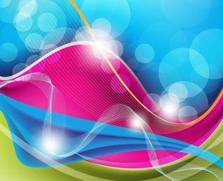Ondas coloridas, líneas espirales, curvas y fondo Bokeh