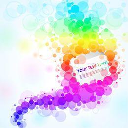 Banner circular flotante colorido de Bokeh