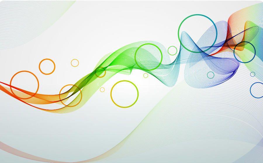 Linhas espirais esfumaçadas coloridas & círculos