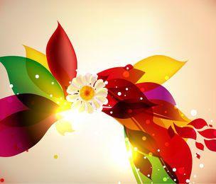 Gráfico floral colorido con flor de flor llena