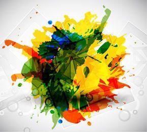 Grungy Stain colorido con cuadrados rotos