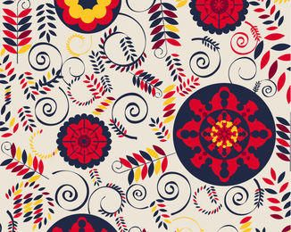 Floristic Retro Background with Swirls & Arcs