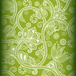 Seamless White Floral Decoration on Green