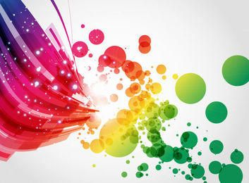 Líneas abstractas de colores y fondo de símbolos