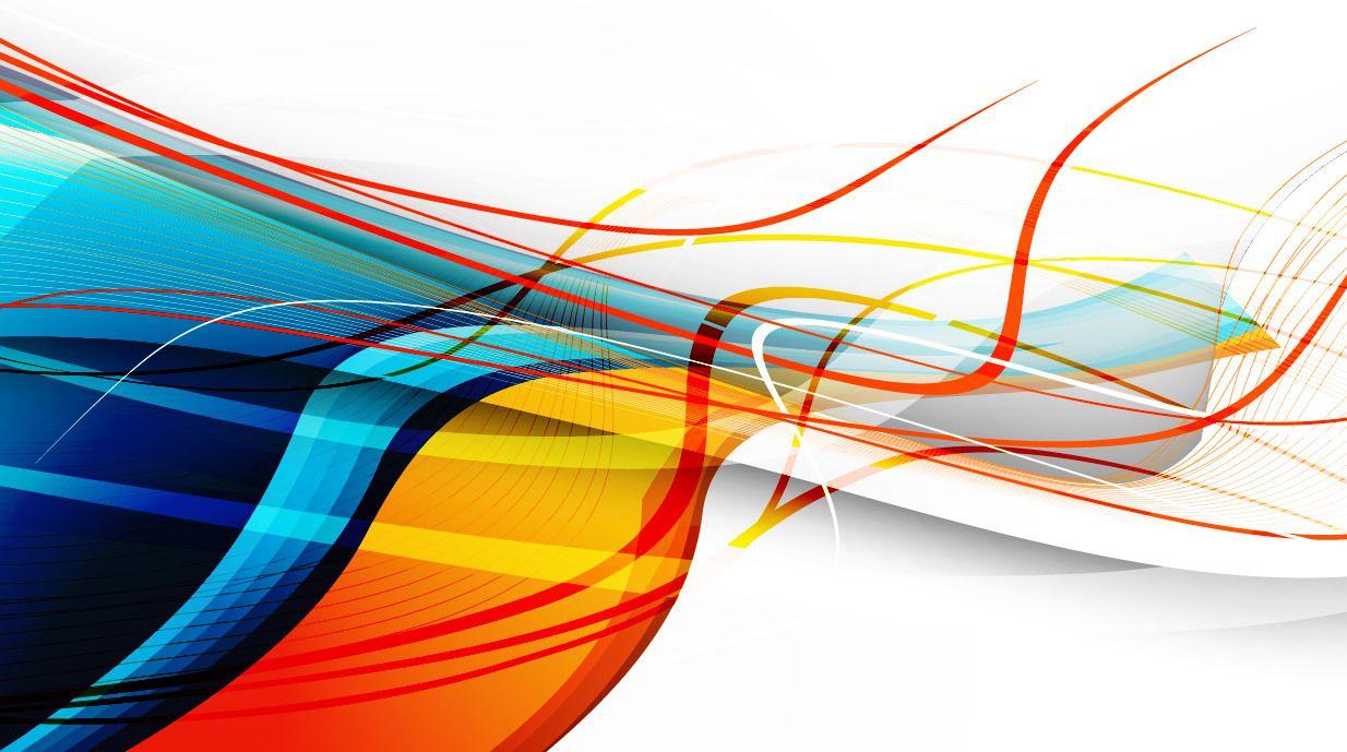 Criativo flutuante Curvas e linhas coloridas Background ...